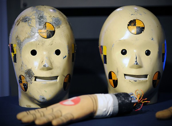 Washington, DC - July, 14: Today is the 25th anniversary of the launching of the Vince and Larry crash test dummy public service campaign, and donated artifacts, such as these two masks, are welcomed at a ceremony at the Smithsonian American History museum on July, 14, 2010 in Washington, DC. (Photo by Bill O'Leary/The Washington Post)  StaffPhoto imported to Merlin on  Wed Jul 14 14:51:06 2010